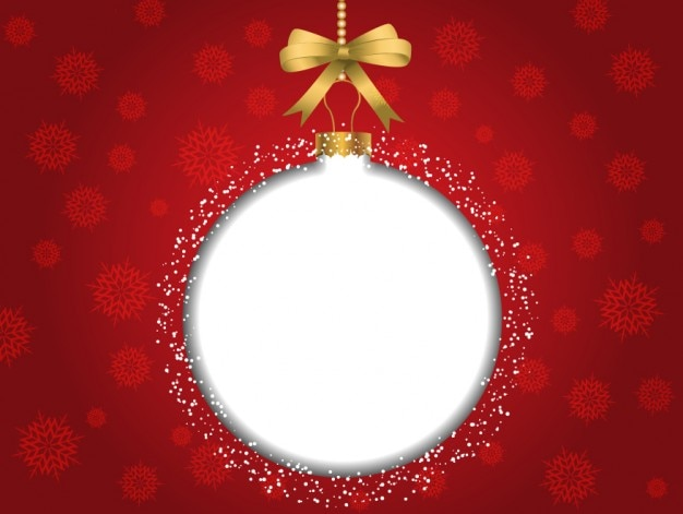 Red christmas background with white bauble