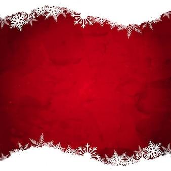 白い雪と赤いクリスマスの背景
