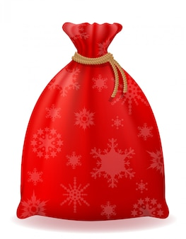 Red christmas bag santa claus vector illustration