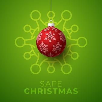 Красный рождественский шар и иллюстрация клетки коронавируса