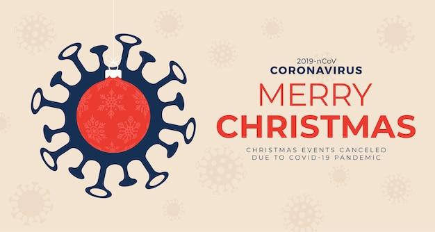 Красный елочный шар и опасность карантина коронавируса. коронавирус covid-19 и рождество или новый год отменили концепцию.
