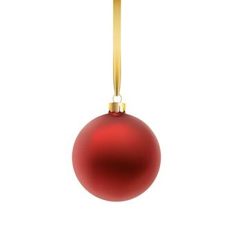 赤いクリスマスボール、白い背景で隔離。