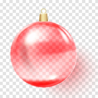 Red christmas ball. pink xmas glass ball.