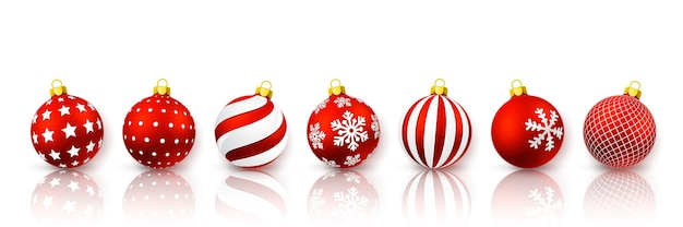 Red christmas ball set. xmas glass ball on white background. holiday decoration template.