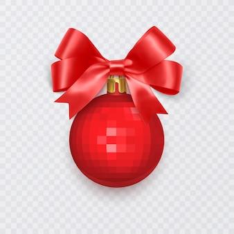 白い背景で隔離の弓の新年の装飾と赤いクリスマスボール