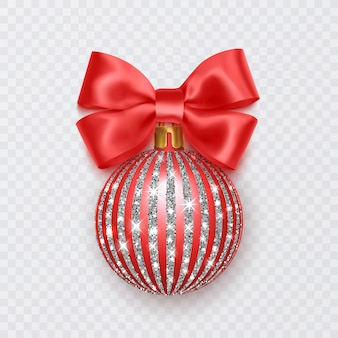 Red christmas ball with bow new year decoration isolated on white background