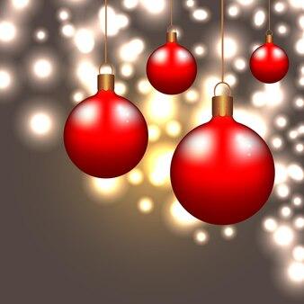 Красный рождественские шары фон