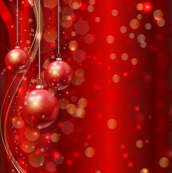 Bokeh 배경에 빨간 크리스마스 공