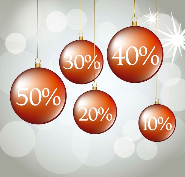 Red christmas balls with discounts vector illustration