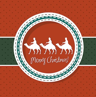 Red christmas card with camels vector illustration