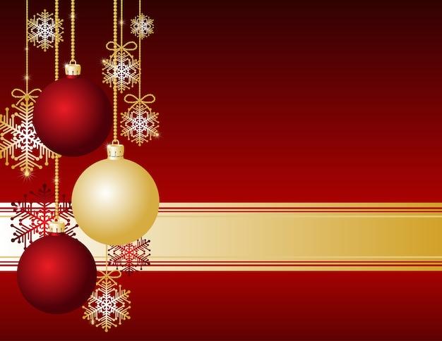 クリスマスボールと雪片の赤いクリスマスカード
