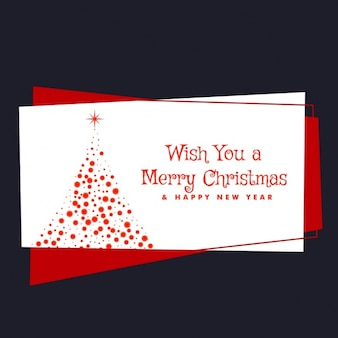 Red christmas card with decorative tree