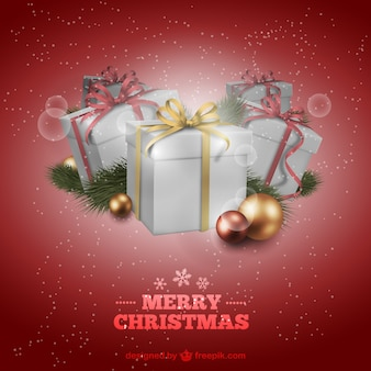 선물 레드 크리스마스 카드