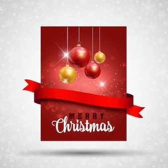 Red christmas card with a ribbon and balls