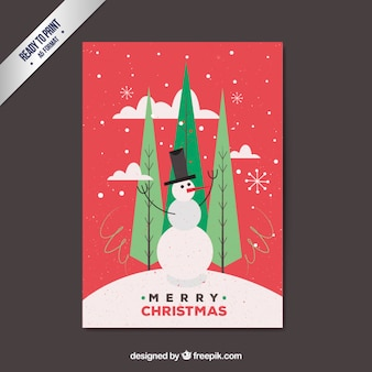 Red christmas card with a snowman Premium Vector