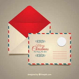 Red christmas envelope template
