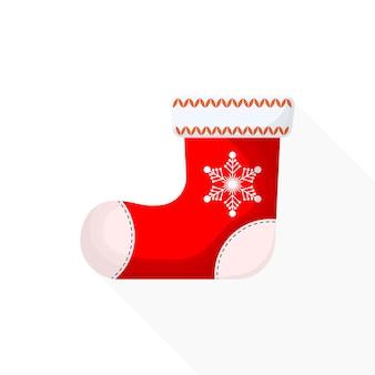 Красные рождественские валенки на белом фоне