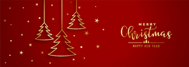 Red christmas festival banner with golden line tree