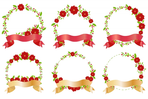 Red christmas flower and ribbon wreath banner collection