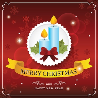 Красная рождественская открытка с хвойной свечой и ленточкой из бумажной полосы