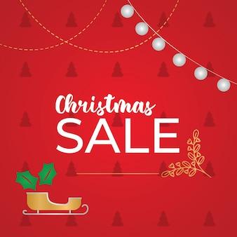빨간 크리스마스 휴일 판매 포스터 벡터