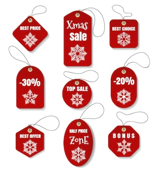 Red christmas holidays tags or labels