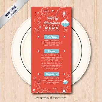 Red christmas menu template