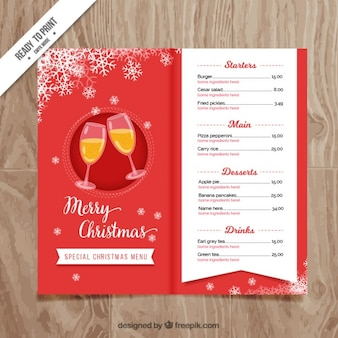 Red christmas menu with champagne