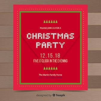 Red christmas party flyer template