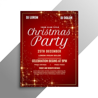 Red christmas party flyer with sparkles
