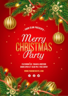 Red christmas party poster