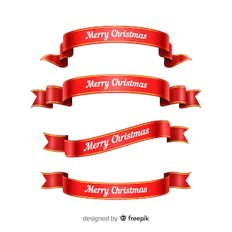 Red christmas ribbon gradient collection