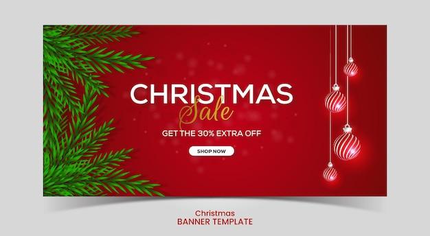 Red christmas sale banner with christmas ball