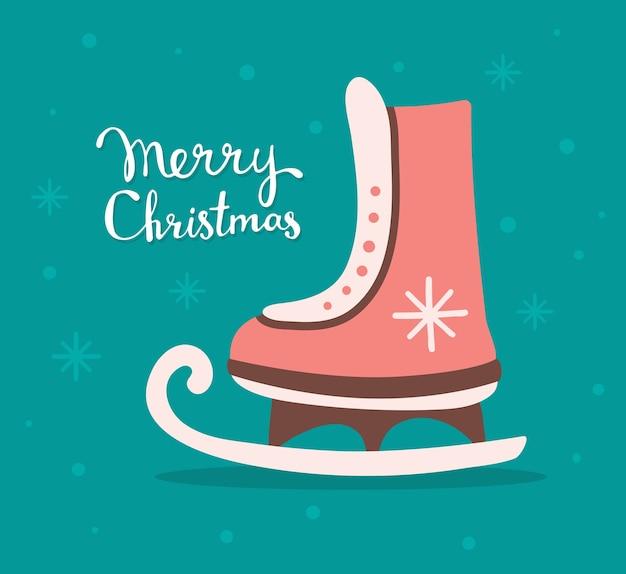 テキストメリークリスマスと赤いクリスマススケート