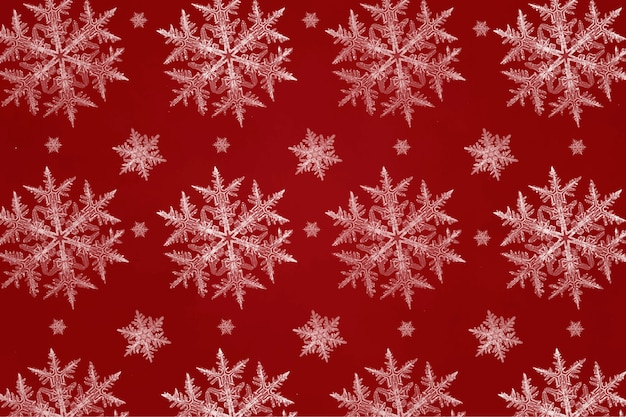 Red christmas snowflake seamless pattern for wrapping paper