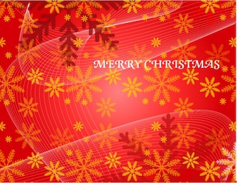 Red christmas snowflakes flowers vector background