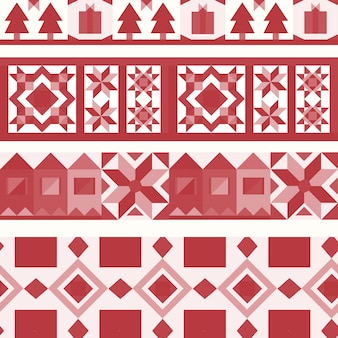 Red Christmas tiles geometrical design vector