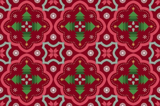 赤いクリスマスツリー花雪ヴィンテージモロッコ民族幾何学的な東洋のシームレスな伝統的なパターン。背景、カーペット、壁紙の背景、衣類、ラッピング、バティック、ファブリックのデザイン。ベクター。