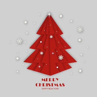 Red christmas tree paper art style. merry christmas and happy new year greeting card.