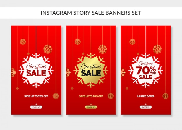 Red christmas vertical sale banners set for instagram story