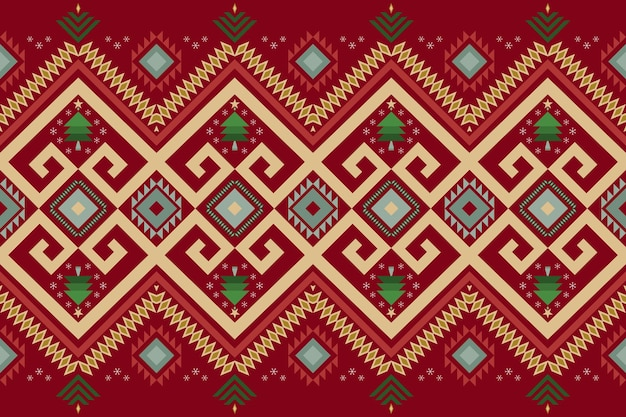 背景、カーペット、壁紙の背景、衣類、ラッピング、バティック、ファブリックのレッドクリスマスヴィンテージ幾何学的な東洋の絣シームレスな伝統的な民族パターンのデザイン。刺繡スタイル。ベクター。