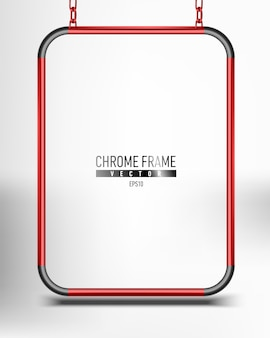 Red chrome frame. advertising space panel for text   hanging on chains