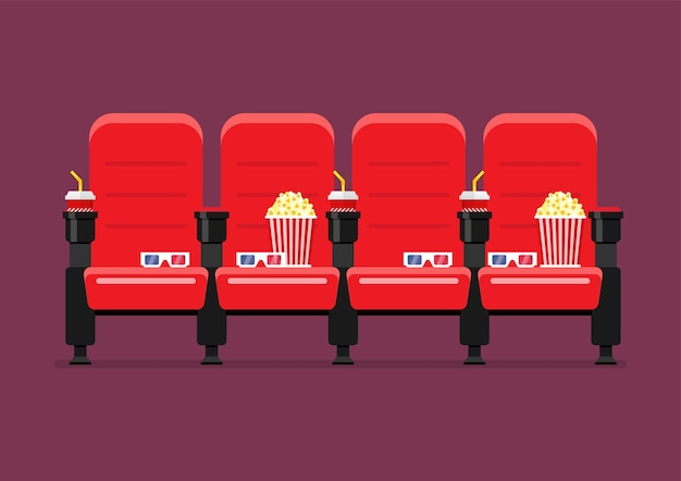 Red cinema chairs vector illustration