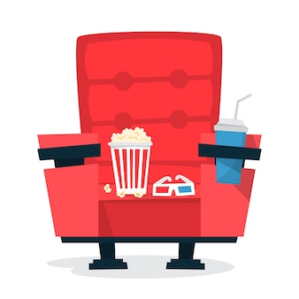 Red cinema theater chair with pop corn and soda drink