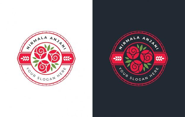 赤い丸バッジローズのロゴデザイン