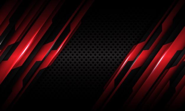 Красный контур металлический темно серый круг сетки футуристический фон технологии.