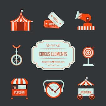 Elementi rossi circo in un design piatto