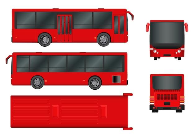 Красный городской автобусный шаблон. пассажирский транспорт со всех сторон вид сверху, сбоку, сзади и спереди. векторная иллюстрация eps 10, изолированные на белом фоне.