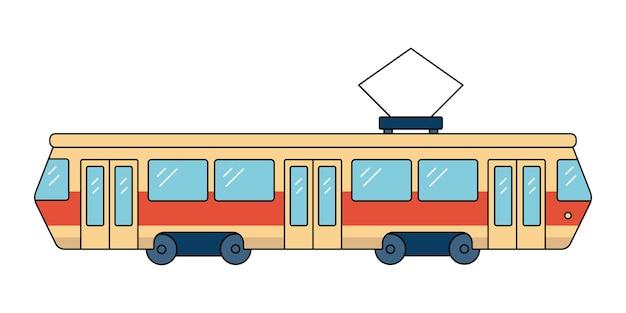 Красный городской трамвай городской наземный транспорт
