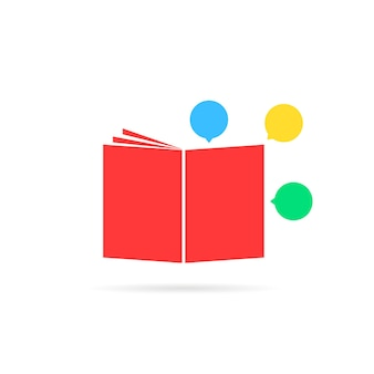 漫画のような赤い教科書。小冊子、小説、情報、珍しいエンブレム、日記、スーパーヒーローの物語、大学の概念。フラットスタイルのトレンドモダンなロゴタイプの白い背景のグラフィックデザインアート